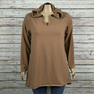 Denim & Co Brown Tan Hooded Tunic Shirt Top